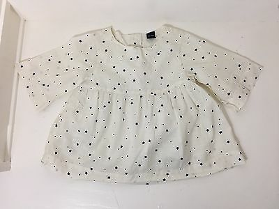 Baby Gap Toddler Girls White Shirt Top Navy Blue Stars Sz 3t