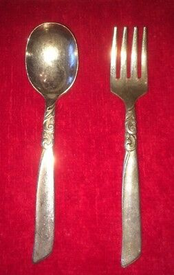 Oneida Community South Seas Silver Plated Baby Set Fork And Spoon