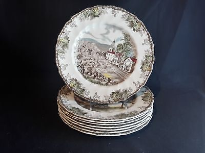 Johnson Brothers Friendly Village  Set of 8 Dinner Plates  (8 Different Designs)