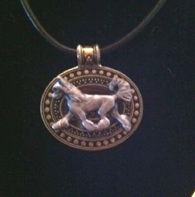 Chinese Crested  Dog Brass Medallion on leather cord~necklace~Hairless