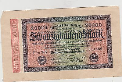 Germany 1923 20,000 Marks # F-WB 714869