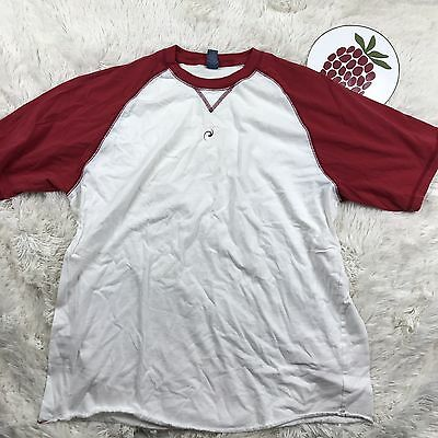 Hyp Two Tone Raglan Cotton Crewneck T Shirt Size  XL White Red