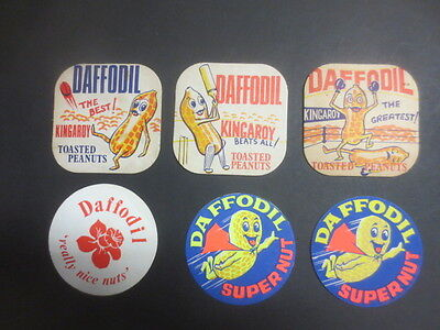 """6 different DAFFODIL """"Kingaroy"""" toasted nuts  3 are 1960,s Issue COASTERS"""