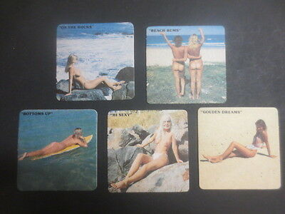 complete set of 5 NUDE Series 1990,s Australian Issue  COASTERS