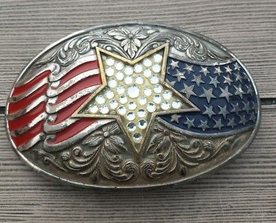 LARGE Western Red, White, and Blue Belt Buckle