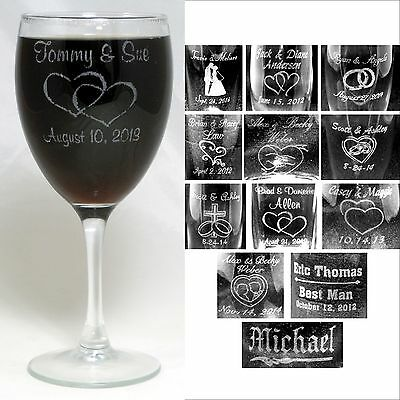 Personalized 10.5oz Wine Glasses Custom Engraved Wedding Anniversary Party Gifts