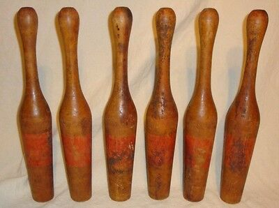 Lot of 6 Antique Vintage Wooden Juggling Clubs Pins Exercise Circus