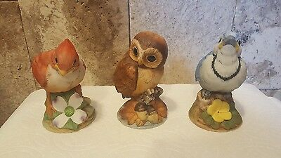 Lot of 3 -Andrea by Sadek Baby Cardinal , Baby Blue Jay and Baby Owl  # 6350