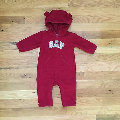 Baby Gap Red Gray Logo Hooded Romper Boy's (Size 3-6 Months) NWOT