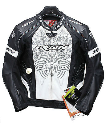 IXON Famous LT Leather Jacket White/Black NEW Motorcycle biker sports racing