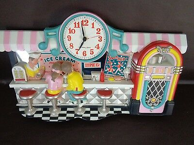 Vintage Burwood 1987 Ice Cream Soda Shop Clock (Cat.#3C004)