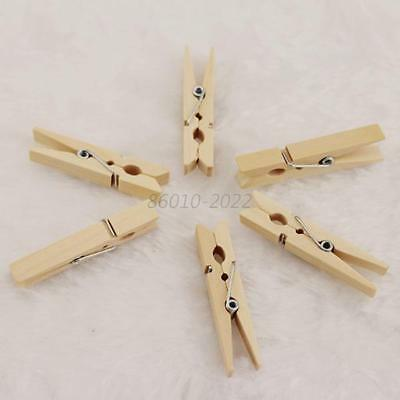 100Pcs/Set Mini DIY Wooden Clothes Photo Paper Pegs Clothespin Cards Craft Clips