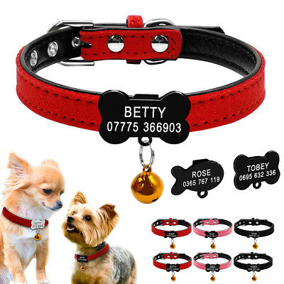 Suede Leather Personalized Dog Collars Engraved Cat Name Necklace Bone Fish Tag