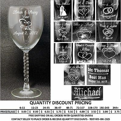 Personalized Wine Glasses Custom Laser Engraved Wedding Anniversary Party Gifts