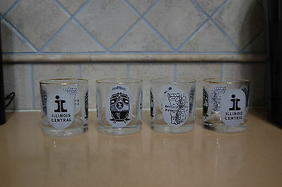 Set of (4) Illinois Central On-The-Rocks glasses, Excellent