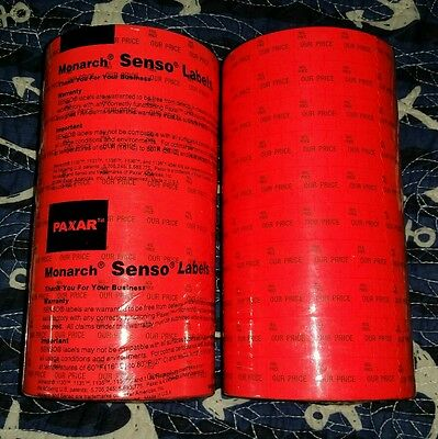 """Lot of 2 Stacks/(20 Rolls Monarch 1115® 2 Line """"Our Price""""  Senso Labels RM-322"""