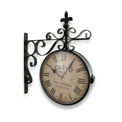 Zeckos Grand Hotel Paris Double Sided Wall Mounted Clock