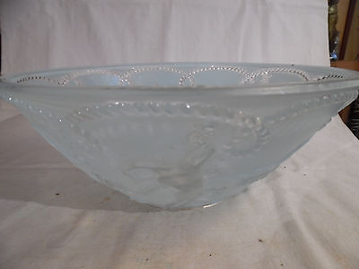 Vintage Cowboy Rodeo Ranch Glass Lamp Shade Baby Blue