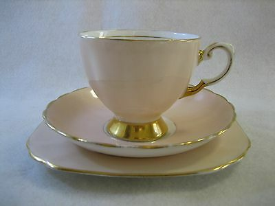 Tuscan Pale Pink & Gold Teacup Trio