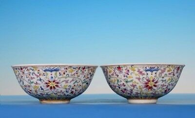 Pair Of Rare Chinese Antique Porcelain Bowls Marked GuangXu XuanTong