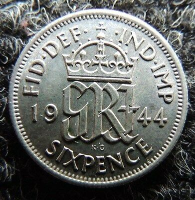 GREAT  BRITIAN        1944     SILVER      6 Pence       Uncirculated