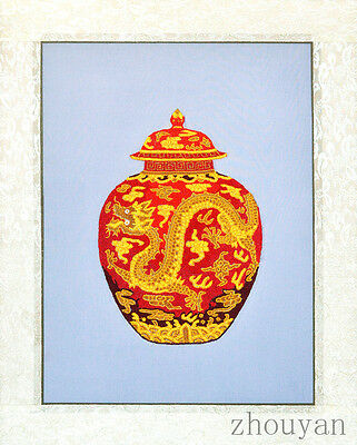 """20"""" Brocaded Chinese Traditional Silk Embroidery Painting: Dragon Jar -"""