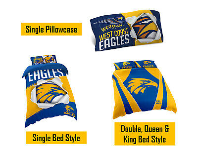 West Coast Eagles AFL Pillow Quilt Cover Set: Single, Double, Queen & King Bed