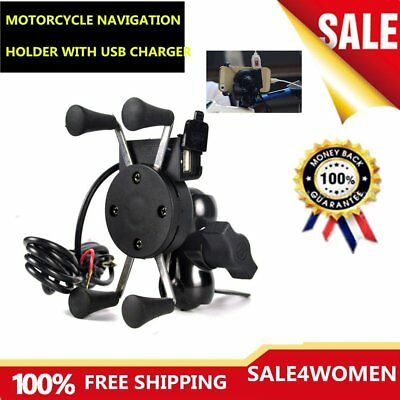 X-Grip RAM Motorcycle Bike Car Mount Cellphone Holder USB Charger For Phone PE
