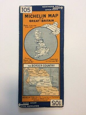 Vintage canvas Michelin Map of Great Britain The Border Country 105