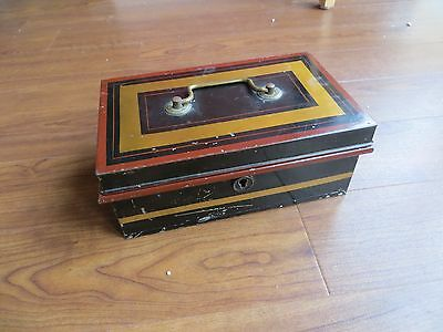 Vintage Cash Tin Black with lift out tray no key