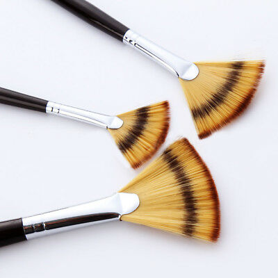 3pcs Art Paint Fan brushes Set for Watercolor Acrylic Oil Painting Artist Craft