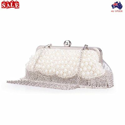 Silver Designer Clutch Evening Party Bag Women Purse Shoulder Wedding Handbag