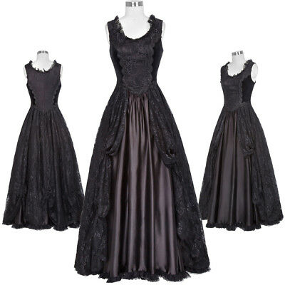 Retro Victorian Long Dresses Gown Gothic Theater Steampunk Lace Formal Evening