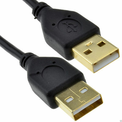 GOLD USB 2.0 A to A (Male to Male) High-Speed BLACK Cable  1m SHORT