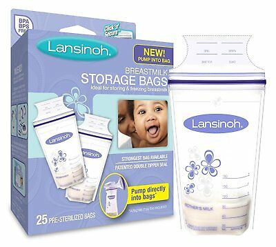 Breastmilk Storage Bags Milk Pouches Zip Closure Lansinoh 180 ml Pack of 25 Bags