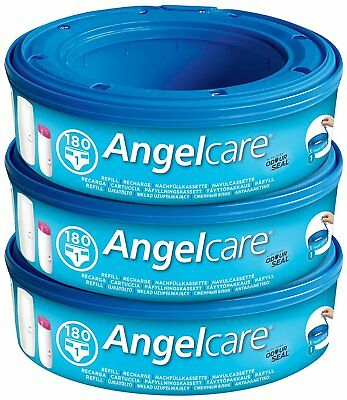 Angelcare Nappy Disposal System Refill Cassettes Bin Wrap for Baby Pack of 3