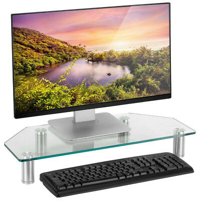 Adjustable Computer Stand Monitor TV Screen Display Riser Holder Clear Glass AU