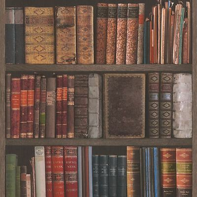 Library Books Wallpaper - Rasch 934809 - Bookcase New
