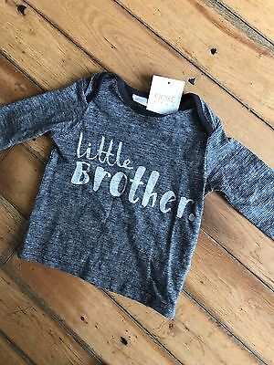 BNWT NEXT - Cute Baby Boys Little Brother Top 3-6 Months!