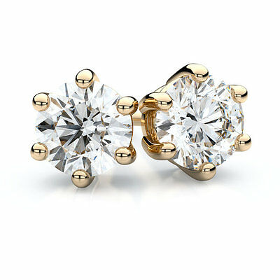 Diamond-Unique 2ct Solitaire Solid Gold 18ct Stud Earrings 6 Claw