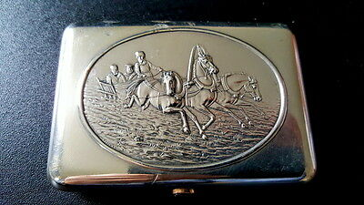 Antique Russian Silver Cigarette Case Troika Design On Lid With Gilding Inside