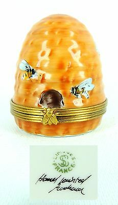 ROCHARD LIMOGES France HAND PAINTED BEES on a HIVE Hinged Box