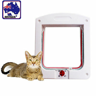 Pet Cat 4 Way Locking Flap Screen Door Lockable Small Catflap Frame PCADO 7600