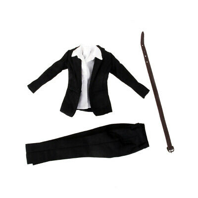 """Black Office Trousers Suit For 1/6 Scale Female 12"""" Action Figure Phicen BBI"""