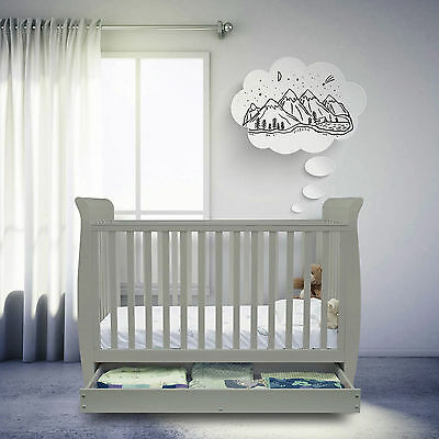 New Ickle Bubba Modern Grey Luna 3 In 1 Cot Bed With Corovin Mattress & Drawer