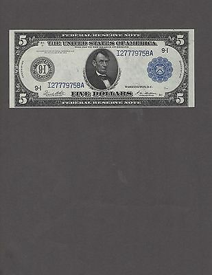 1914 $5.00 Fed. Res. Note, Minneapolis District, Very Choice Uncirculated-NICE!!