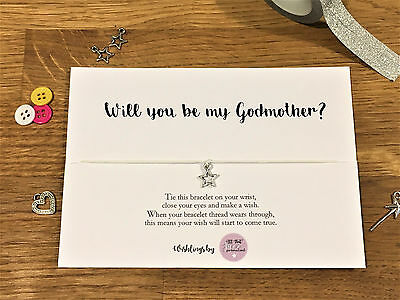 Personalised Wish Bracelet will you be my Godmother christening gift card