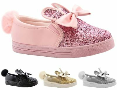 New Kids Girls Pom Pom Glitter Rabbit Ears Bow Detail Slip On Shoes Trainers