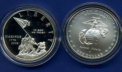 2005 Marine Corps 230Th Anniversary Proof And Bu Silver Dollars