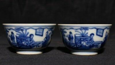 Pair of Unique Chinese Antique Hand Painting Porcelain Cups Marks KangXi